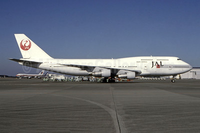 JAL-Japan Airlines Boeing 747-346 JA8173 (msn 23482) LGW (Mike J. Axe - Bruce Drum Collection). Image: 944706.