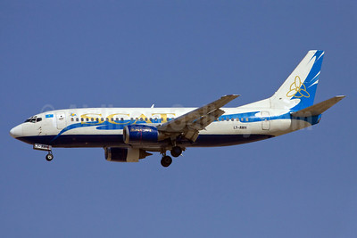 SCAT Airlines (SCAT Air Company) (Small Planet Airlines) Boeing 737-3Y0 LY-AWH (msn 23924) DXB (Ole Simon). Image: 907594.