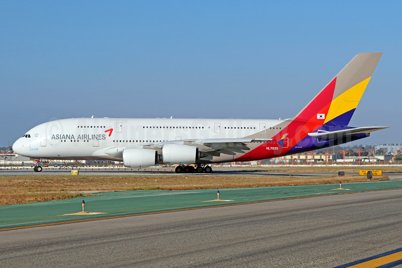 Asiana Airlines Airbus A380-841 HL7635 (msn 183) LAX. Image: 933805.