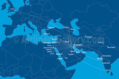 Jazeera Airways route map (September 2019)