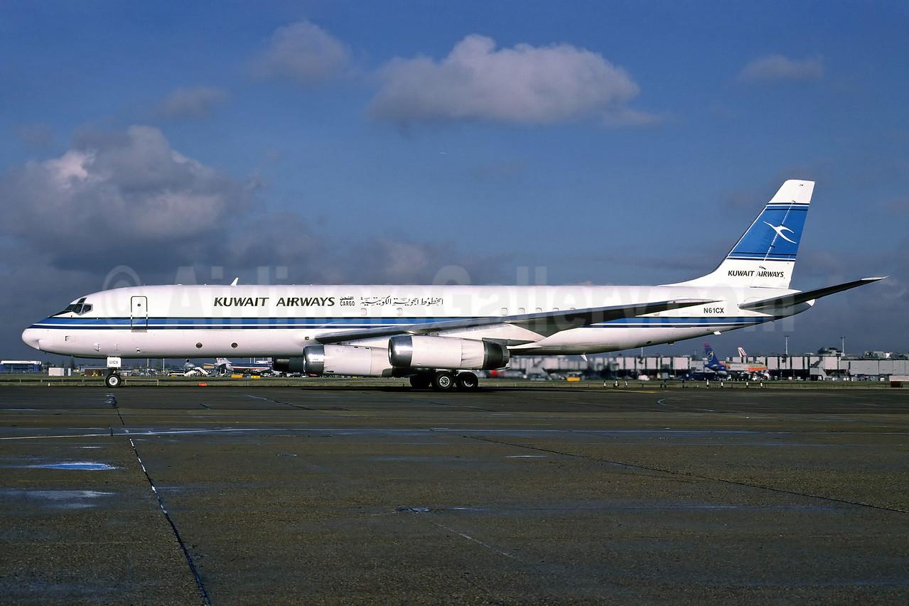 Kuwait Airways-ATI McDonnell Douglas DC-8-62 (F) N61CX (msn 46142) LHR (Richard Vandervord). Image: 902464.