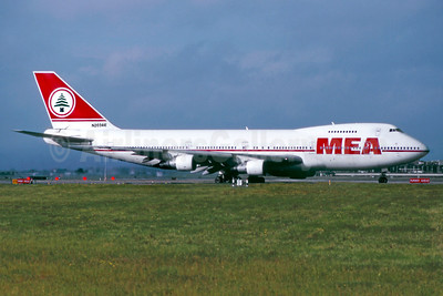 MEA (Middle East Airlines) Boeing 747-2B4B N203AE (msn 21098) LHR (SM Fitzwilliams Collection). Image: 910318.