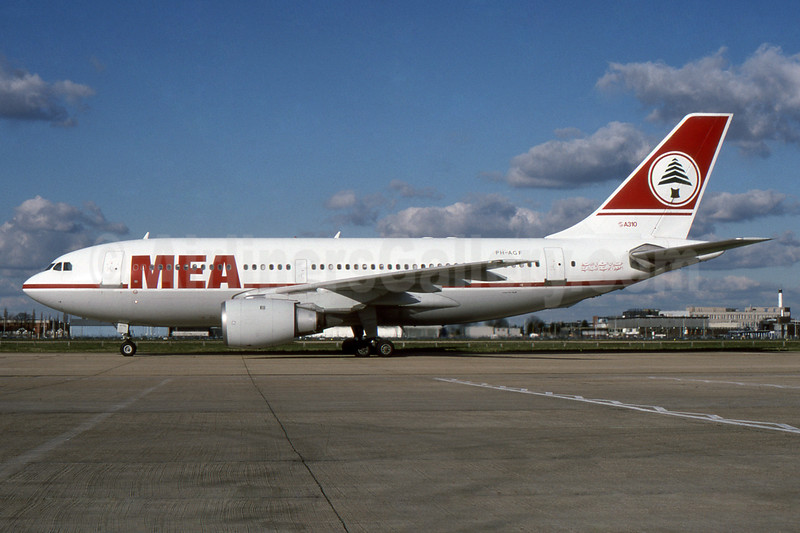MEA (Middle East Airlines) (KLM Royal Dutch Airline) Airbus A310-203 PH-AGF (msn 297) LHR. Image: 937318.