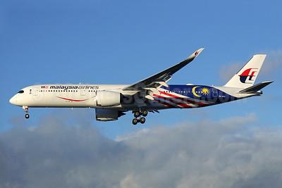 "Malaysia's 2017 A350 ""Negaraku"" flag livery"