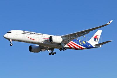"First flight of Malaysia's 2017 A350 ""Negaraku"" flag livery"