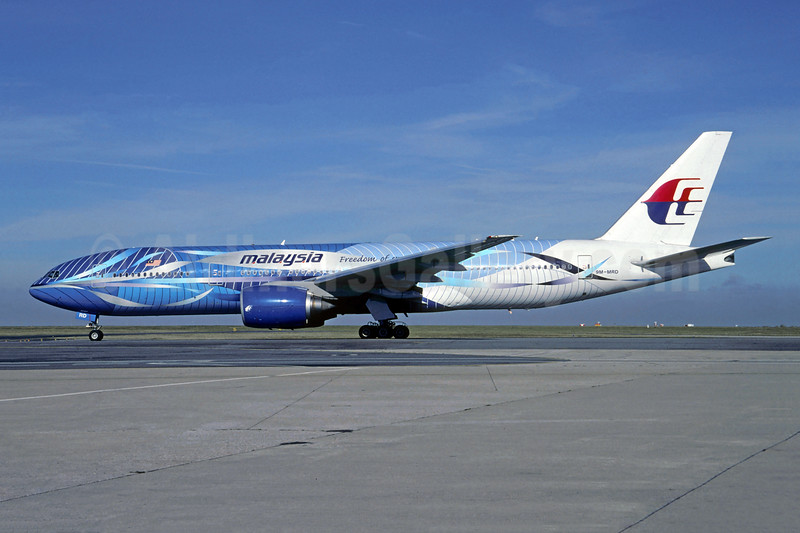 Malaysia Airlines Boeing 777-2H6 ER 9M-MRD (msn 28411) (blue Heliconia) CDG (Christian Volpati). Image: 907294.