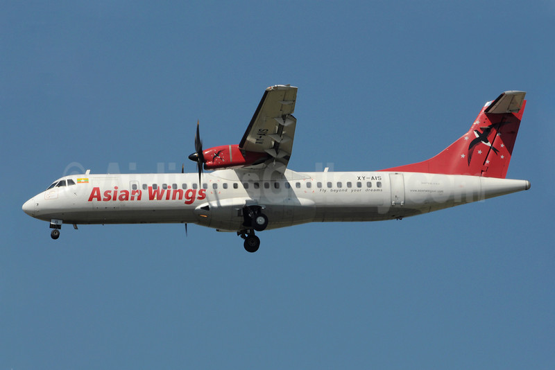 Asian Wings ATR 72-212A (ATR 72-500) XY-AIS (msn 626) RGN (Richard Vandervord). Image: 923118.