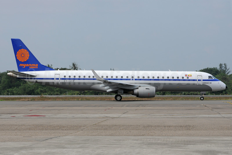 Myanma Airways Embraer ERJ 190-100 IGW XY-AGP (msn 19000154) RGN (Richard Vandervord). Image: 923615.