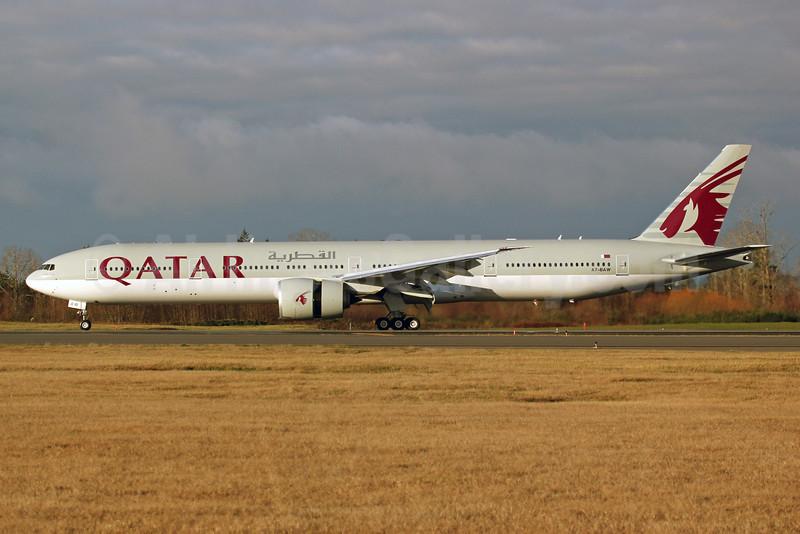 Qatar Airways Boeing 777-3DZ ER A7-BAW (msn 41741) PAE (Nick Dean). Image: 912563.