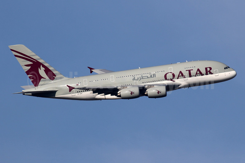 Qatar Airways Airbus A380-861 A7-APH (msn 197) LHR (SPA). Image: 941161.