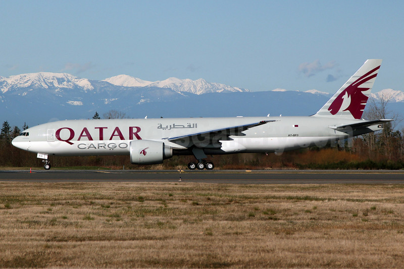Qatar Airways Cargo Boeing 777-FDZ A7-BFD (msn 41427) PAE (Nick Dean). Image: 908116.