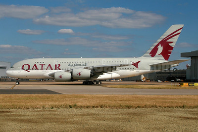 Qatar Airways Airbus A380-861 A7-APF (msn 189) LHR. Image: 934297.