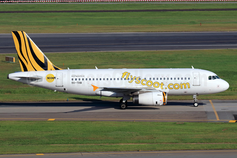 Scoot-flyscoot.com (Singapore Airlines) Airbus A319-132 9V-TRB (msn 3801) (Tigerair colors) SIN (Michael B. Ing). Image: 939332.