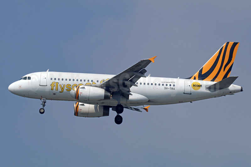 Scoot-flyscoot.com (Singapore Airlines) Airbus A319-132 9V-TRA (msn 3757) (Tigerair colors) BKK (Michael B. Ing). Image: 940571.