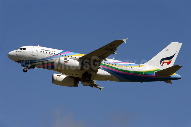 Bangkok Air (Bangkok Airways) Airbus A319-132 HS-PGY (msn 3454) (Angkor Wat) LGW (Terry Wade). Image: 900086.