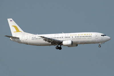 City Airways (Thailand) Boeing 737-4H6 HS-GTG (msn 27191) HKG (Paul Denton). Image: 934183.