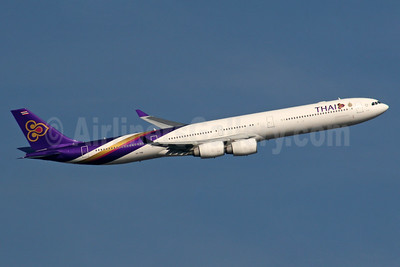 Thai Airways International Airbus A340-642 HS-TNB (msn 681) LHR (SPA). Image: 926411.