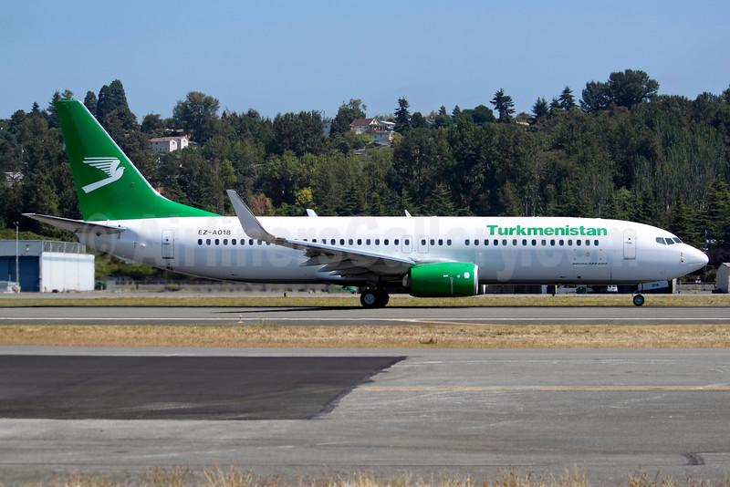 Turkmenistan Airlines Boeing 737-82K WL EZ-A018 (msn 61573) BFI (Joe G. Walker). Image: 934134.