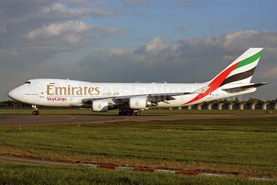 Emirates SkyCargo (Emirates Airline) (ASL Airlines Belgium) Boeing 747-4HAF OO-THD (msn 35236) LHR. Image: 937640.