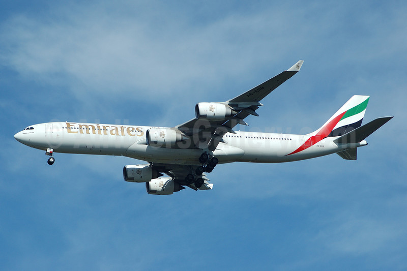 Emirates Airline Airbus A340-541 A6-ERB (msn 471) JFK (Bruce Drum). Image: 100390.