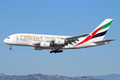 Emirates Airline Airbus A380-861 A6-EOH (msn 174) (Expo 2020 Dubai UAE) LAX (Michael B. Ing). Image: 933628.