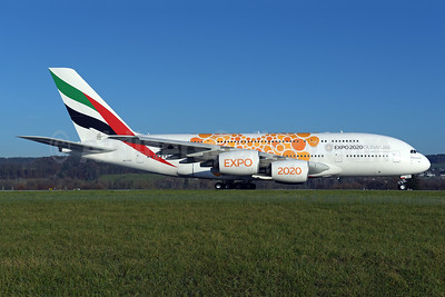 Emirates Airline Airbus A380-861 A6-EOU (msn 205) (Expo 2020 Dubai UAE) ZRH (Rolf Wallner). Image: 948511.