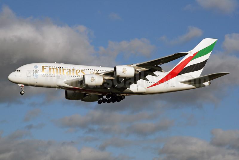Emirates Airline Airbus A380-861 A6-EDI (msn 028) (Expo 2020 Dubai UAE) LHR (SPA). Image: 926045.