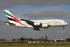 Emirates Airline Airbus A380-861 A6-EDI (msn 028) (Expo 2020 Dubai UAE) LHR (SPA). Image: 927349.