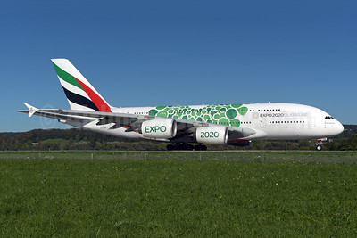 """The green version of the """"Expo 2020 Dubai UAE"""" promotional livery"""