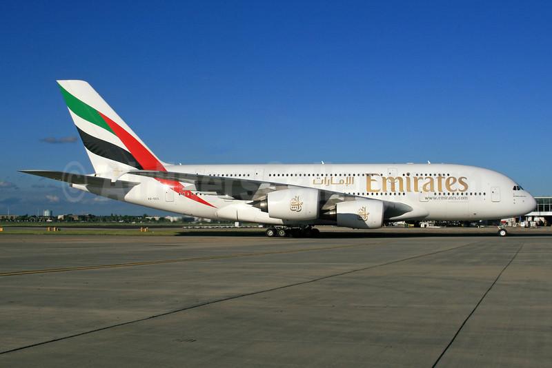 Emirates Airline Airbus A380-861 A6-EES (msn 140) (Expo 2020 Dubai UAE) LHR. Image: 933976.