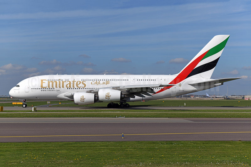 Emirates Airline Airbus A380-861 A6-EUA (msn 211) AMS (Ton Jochems). Image: 948121.