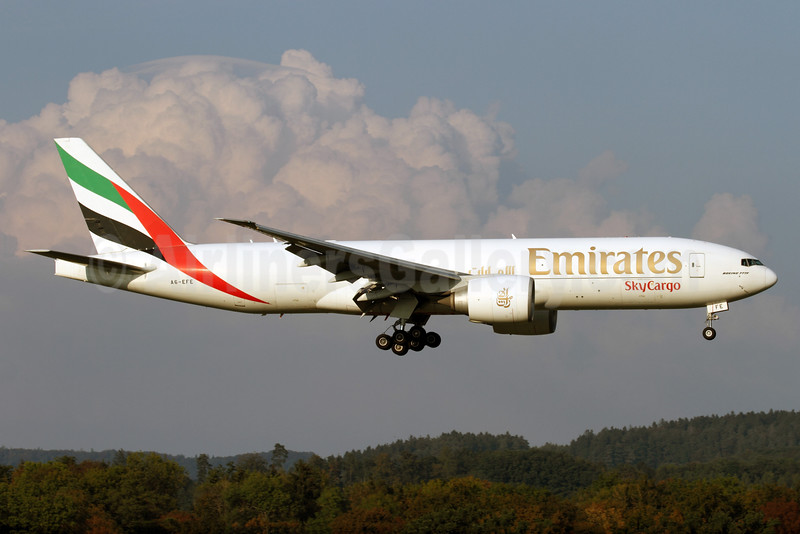 Emirates SkyCargo (Emirates Airline) Boeing 777-F1H A6-EFE (msn 35607) ZRH (Andi Hiltl). Image: 935049.