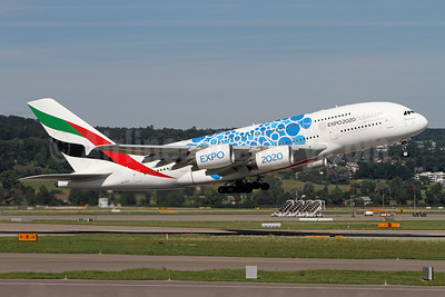 Emirates Airline Airbus A380-861 A6-EOS (msn 203) (Expo 2020 Dubai UAE) ZRH (Andi Hiltl). Image: 947283.