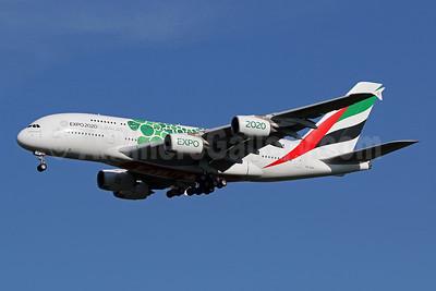 Emirates Airline Airbus A380-861 A6-EON (msn 188) (Expo 2020 Dubai UAE) IAD (Brian McDonough). Image: 954479.