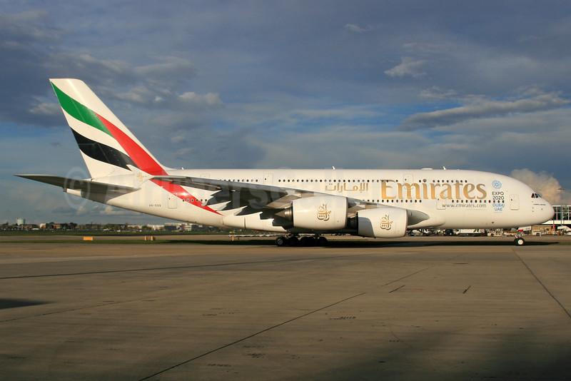 Emirates Airline Airbus A380-861 A6-EDQ (msn 080) (Expo 2020 Dubai UAE) LHR. Image: 933035.