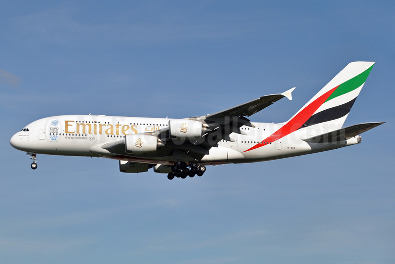 Emirates Airline Airbus A380-861 A6-EEC (msn 110) (Expo 2020 Dubai UAE) LHR (Karl Cornil). Image: 920361.