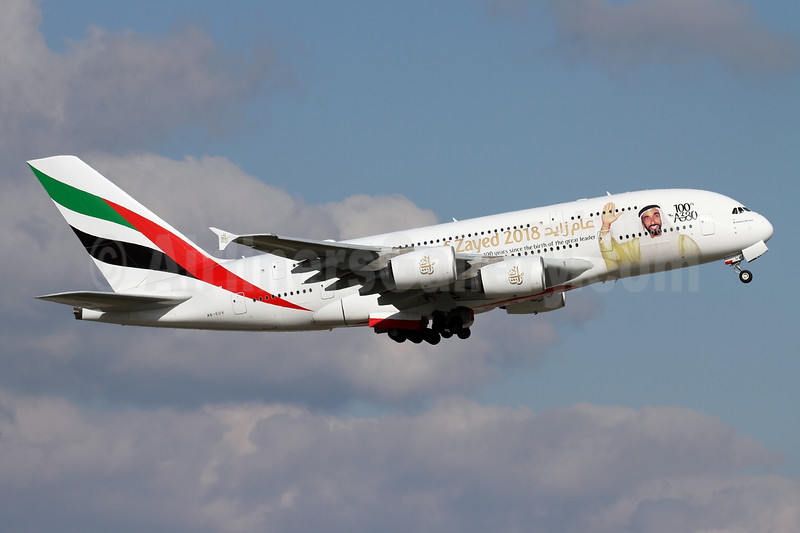 Emirates Airline Airbus A380-842 A6-EUV (msn 239) (Year of Zayed 2018 - 100th A380) ZRH (Andi Hiltl). Image: 941413.