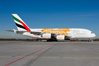 Emirates Airline Airbus A380-861 A6-EEA (msn 108) (Expo 2020 Dubai UAE) MUC (Gunter Mayer). Image: 955166.