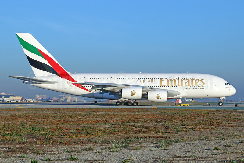 Emirates Airline Airbus A380-861 A6-EEL (msn 133) LAX. Image: 923812.