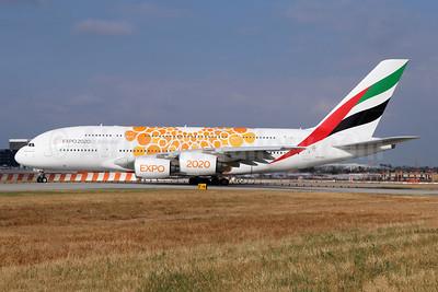 Emirates Airline Airbus A380-861 A6-EOE (msn 169) (Expo 2020 Dubai UAE) LAX. Image: 946252.