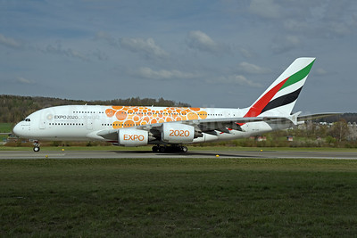 Emirates Airline Airbus A380-861 A6-EOB (msn 164) (Expo 2020 Dubai UAE) ZRH (Rolf Wallner). Image: 946308.
