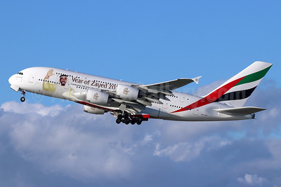 Emirates Airline Airbus A380-861 A6-EOG (msn 172) (Year of Zayed 2018) LAX (Michael B. Ing). Image: 945699.