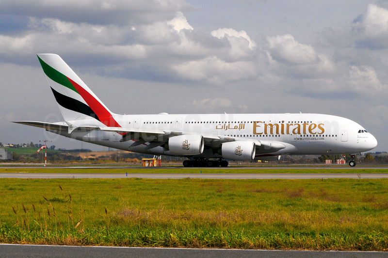 Emirates Airline Airbus A380-861 A6-EUH (msn 220) FCO (Marco Finelli). Image: 937170.