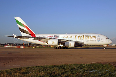 Emirates Airline Airbus A380-861 A6-EEE (msn 112) (Rugby World Cup - England 2015) LHR (SPA). Image: 940132.