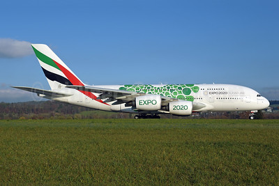 "Green version of the ""Expo 2020 Dubai UAE"" promotional livery"