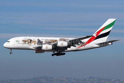 Emirates Airline Airbus A380-861 A6-EEQ (msn 141) (United for Wildlife) LAX (Michael B. Ing). Image: 940176.