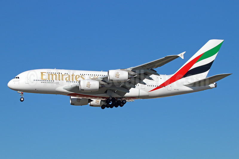 Emirates Airline Airbus A380-861 A6-EEL (msn 133) LAX (Michael B. Ing). Image: 922063.