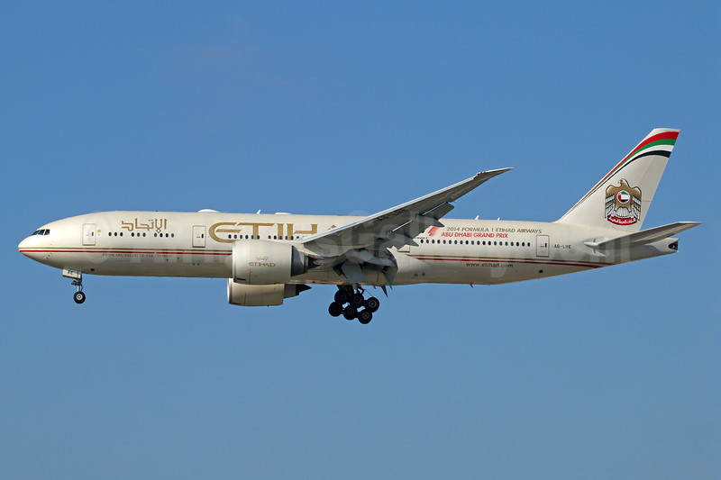 Etihad Airways (Air India) Boeing 777-237 LR A6-LRE (msn 36304) LAX (Michael B. Ing). Image: 924964.
