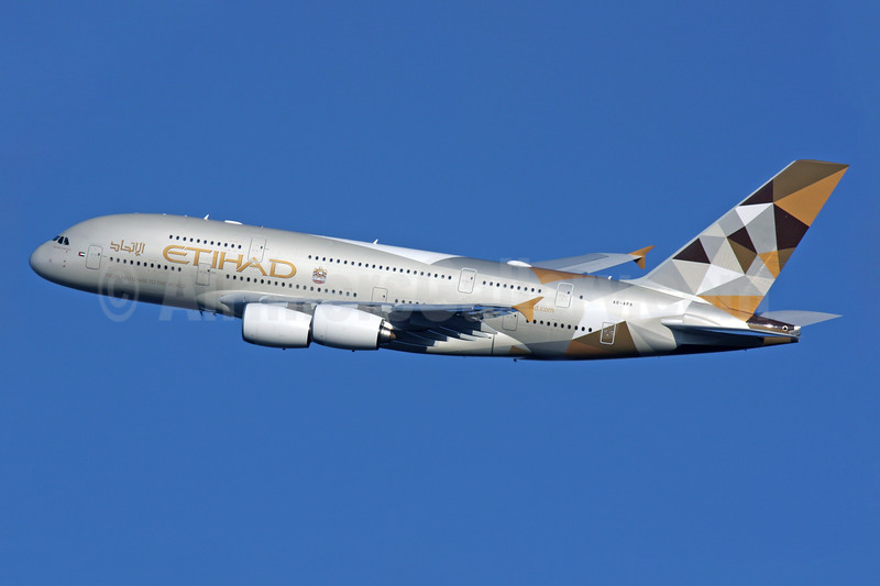 Etihad Airways' first day of service for its first Airbus A380