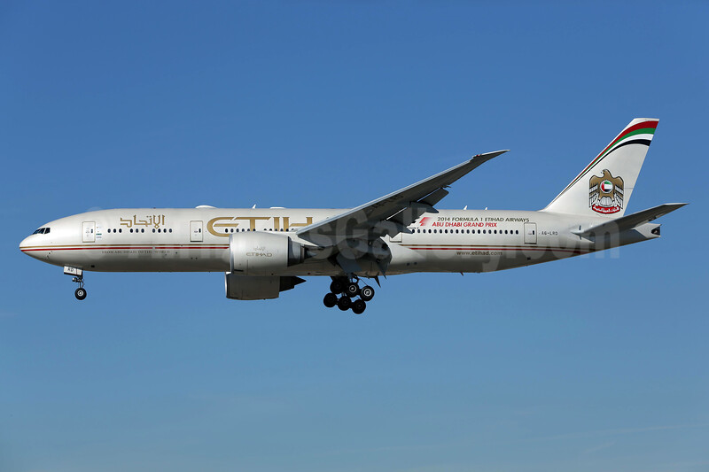 Etihad Airways (Air India) Boeing 777-237 LR A6-LRD (msn 36303) LAX (James Helbock). Image: 930918.